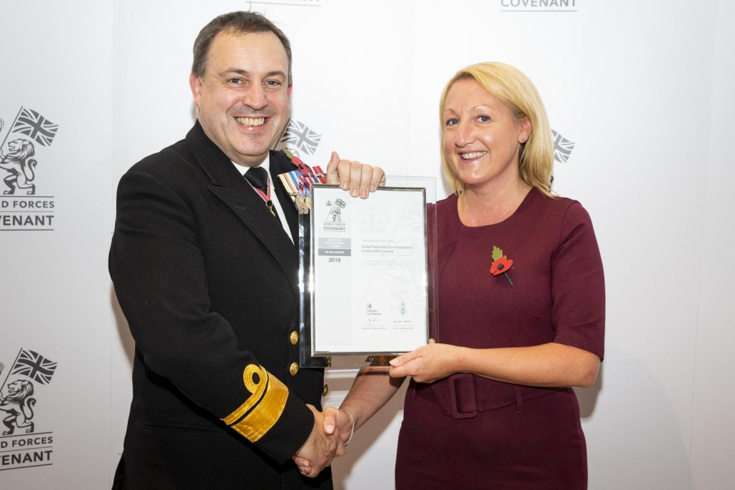 Karen Gooch accepting Armed Forces Covenant Silver Awards on behalf of GRC.