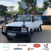 Kenya Red Cross 4x4 with C-Com Driveaway Antenna Ka-98G (Ka-Band)