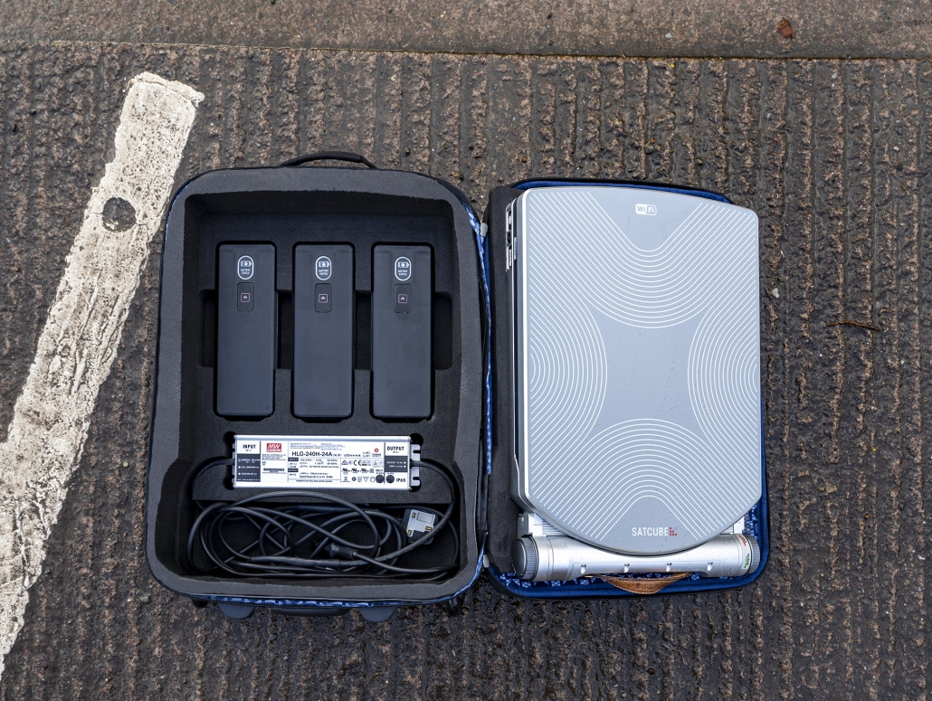 Satcube in a custom made airline cabin bag for easy transport and global deployment