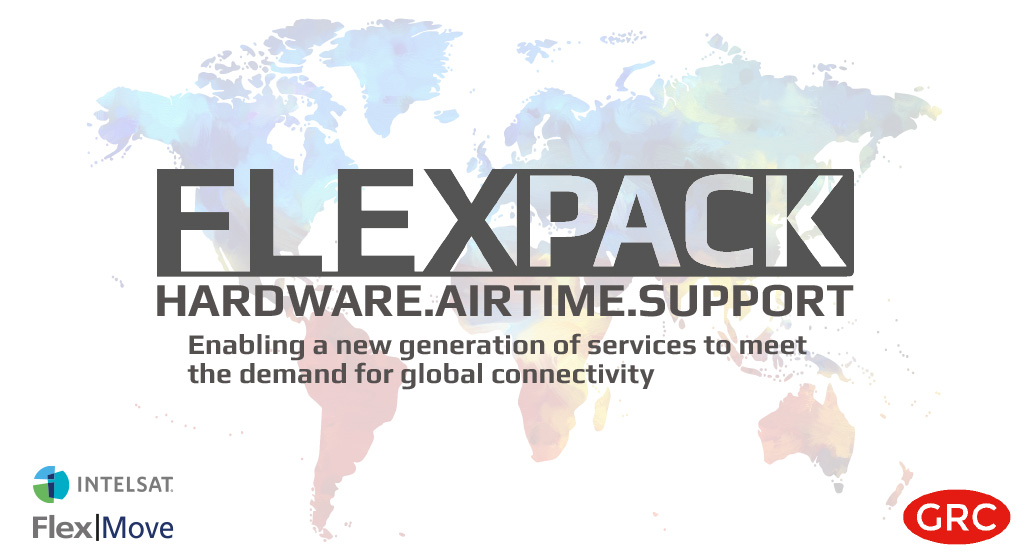 FlexPack from GRC - all inclusive satellite hardware, airtime and support package powered by Intelsat FlexMove.