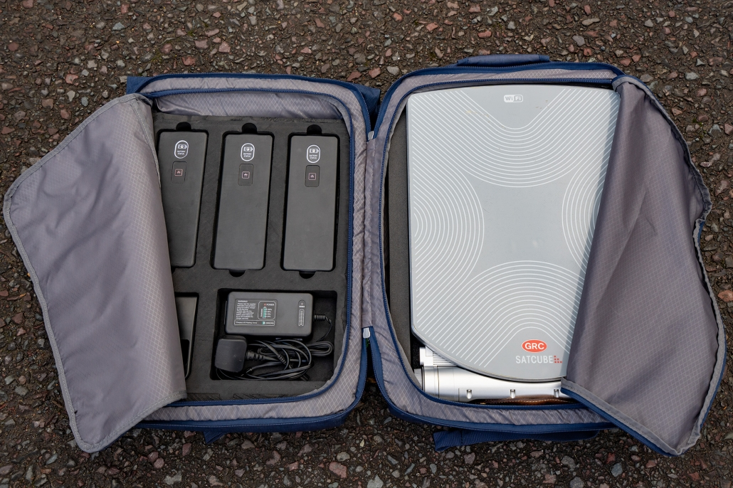 Satcube in a standard airline cabin checkable suitcase